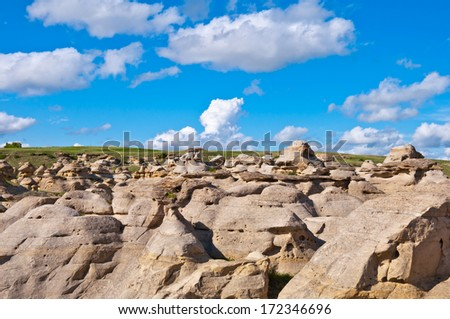 Hoodoos & sandstone formations at Writing on Stone Provincial Park