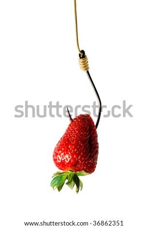hook with strawberry isolated on white background - stock photo