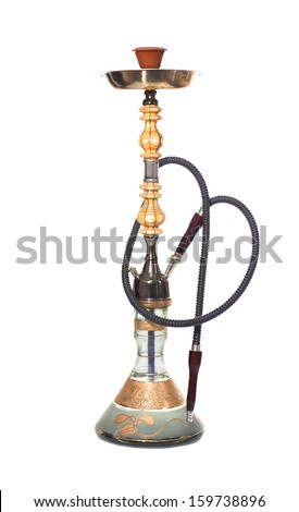 hookah isolated over a white background - stock photo