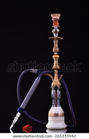 Hookah on a dark black background. Water pipe with milk, hookah tobacco - stock photo