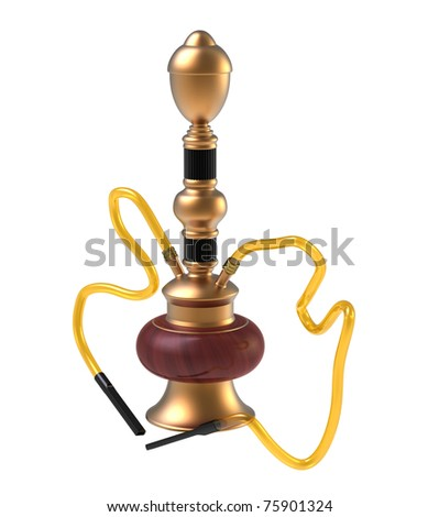 Hookah on two tubes on a white background - stock photo