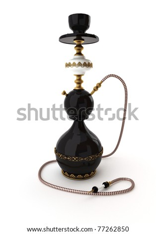Hookah on white - stock photo
