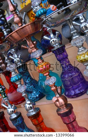 Hookahs in the market in Old Jaffa, Israel - stock photo