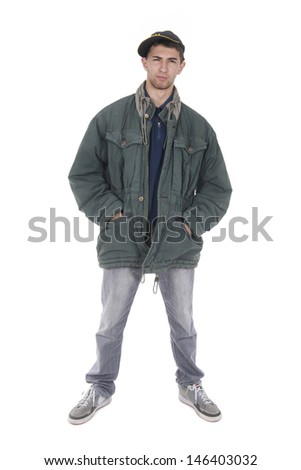 hooting in the studio to a young homeless suspicious - stock photo