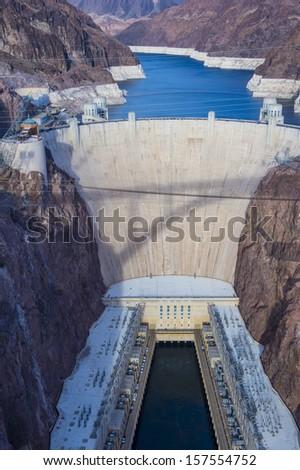 Hoover Dam and Colorado river near Las Vegas, Nevada.  - stock photo