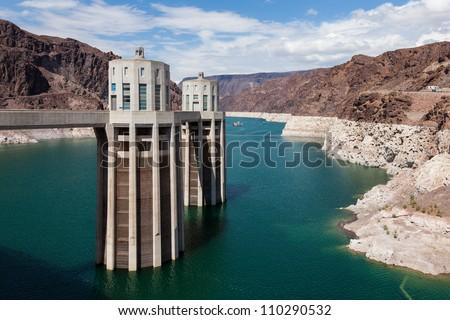 Hoover Dam, between Arizona and Nevada - USA - stock photo
