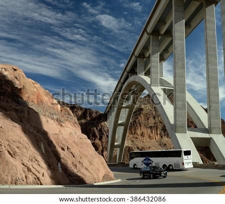 Hoover Dam Bridge - stock photo