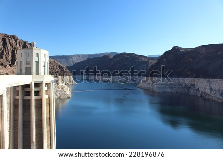 Hoover Dam Hydroelectric Structure on Colorado River - stock photo