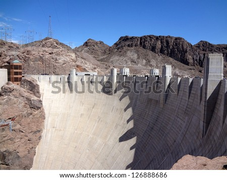 Hoover Dam in sunny day at the border of Arizona and Nevada on the Colorado River. - stock photo