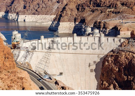 Hoover Dam in the Black Canyon of the Colorado River, between the US states of Arizona and Nevada. Downstream from the Hoover Dam. - stock photo