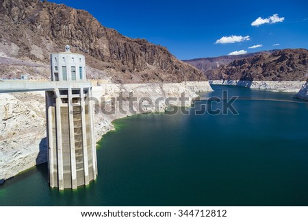 Hoover Dam Intake (Penstock) Towers in Nevada, United States - stock photo