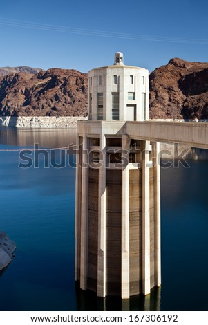Hoover Dam Towers on Colorado River, Lake Mead scenic landscape vista - stock photo