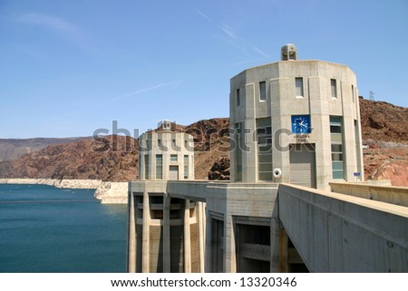 Hoover Dam view of pump towers - stock photo