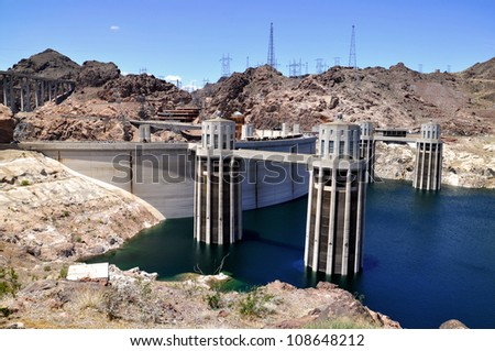 Hoover dam with clear blue sky - stock photo