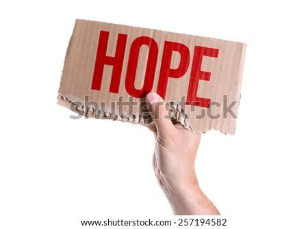 Hope card isolated on white background - stock photo