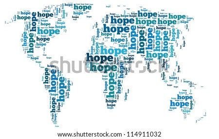 Hope info-text graphics and arrangement concept on white background (word cloud)