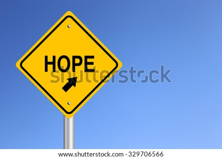 Hope Road Sign with clear blue sky background.