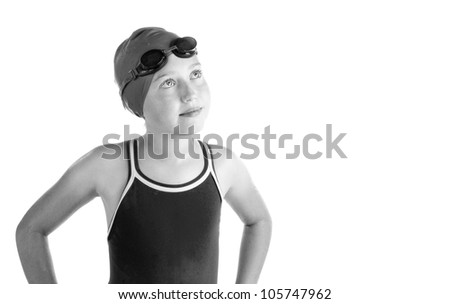 Hopeful young competitive swimmer, isolated on white. - stock photo