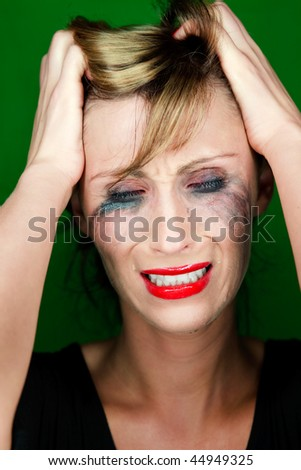 Hopeless unhappy woman crying a lot of tear being frustrated