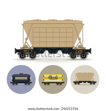 Hopper car for mass transit fertilizer, cement, grain and other bulk cargo. Set of three round  icons , icon  railway car the tank, icon railway wagon , icon hopper car for mass transit bulk cargo - stock photo