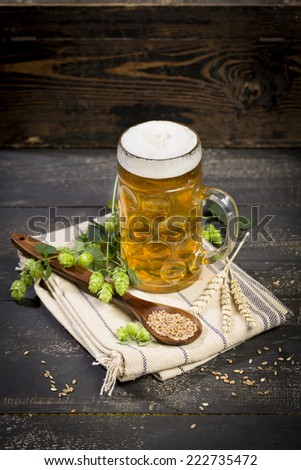 Hops and malt seeds and spikes jug full with beer on cloth napkin - stock photo