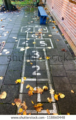 Hopscotch on the schoolyard in the autumn