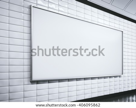 Horisontal white blank billboard on metro station. 3d rendering - stock photo