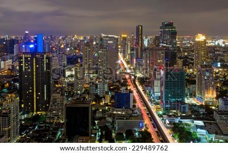 Horizon Night Bangkok city view skyline with skyscrapers and traffic - stock photo