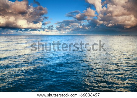 Horizon  sea sky, storm, tempest, sky clouded over - stock photo