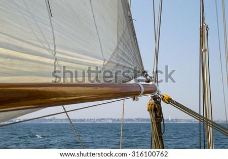 Horizon seen from sailing vessel - stock photo