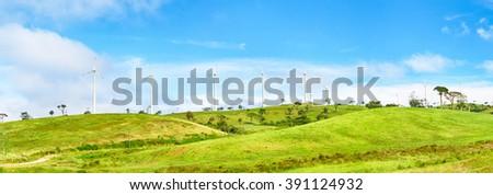 Horizontal Axis Wind Turbines near Nuwara Eliya. Sri Lankda. Panorama - stock photo
