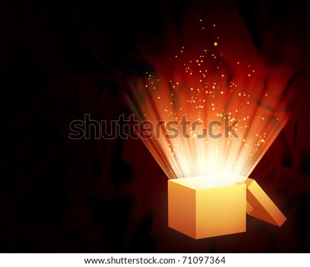 Horizontal background of red color with magic box - stock photo