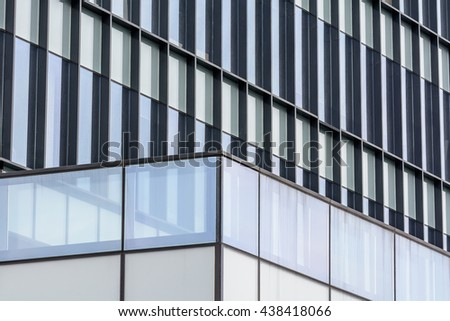 Horizontal background with building windows. Close up architecture abstracts from office buildings in downtown. - stock photo