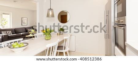 horizontal banner of a fancy kitchen - stock photo