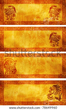 Horizontal banners with American Indian traditional patterns - stock photo