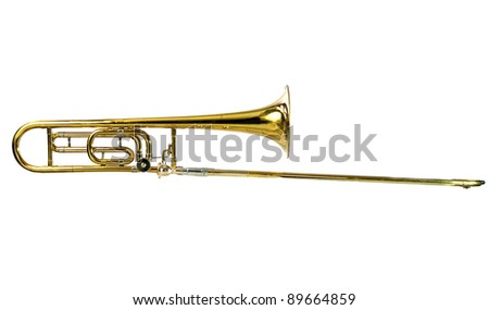 Horizontal Brass Tenor Trombone Isolated on White