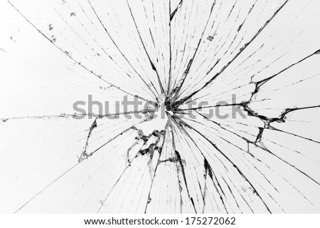 horizontal broken glass white background - stock photo