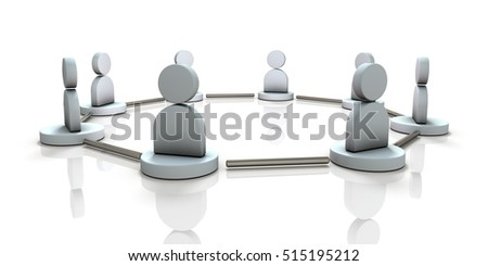 Horizontal connection between friends. 3D illustration
