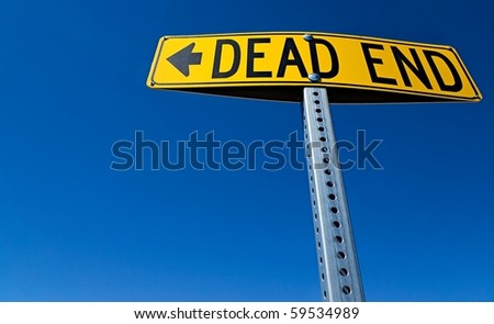 Horizontal Dead End Sign against a blue sky - stock photo