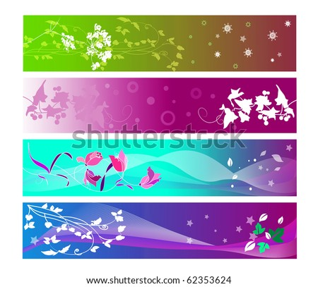 horizontal floral banners - stock photo