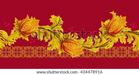 Horizontal floral border. Pattern, seamless.  Old style, stylized flowers and leaves, swirls, gold braiding.