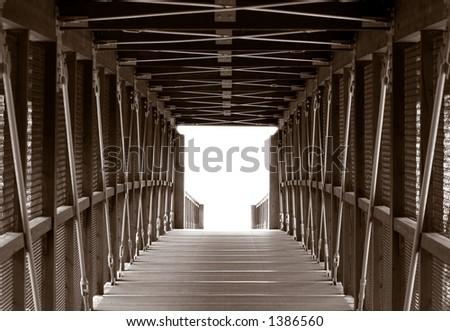 Horizontal Foot Bridge Crossing - stock photo