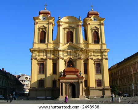 Horizontal Front view of Catholic Dome in the Unirii Plaza, City of Timisoara - Romania - stock photo