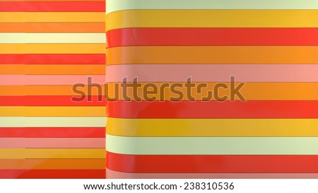 horizontal glossy plastic stripes in red and orange palette - stock photo