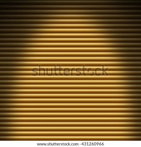 Horizontal gold tube background texture lit from overhead - stock photo