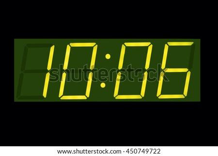 Horizontal green vintage digital  display clock  background  - stock photo