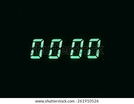 Horizontal green vintage digital zero display clock dust particles background backdrop