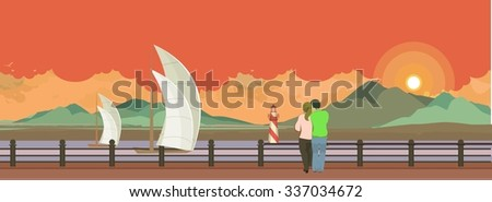 Horizontal  illustration of the evening Pier is a couple in love and looking at the water - stock photo