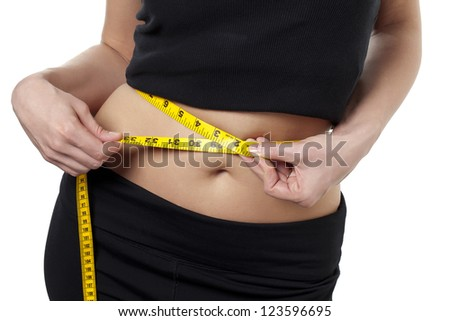 Horizontal image of a woman with the camera focused on her waist line