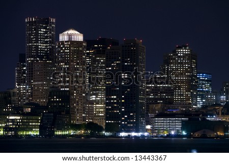 Horizontal image of downtown Boston with water in the foreground